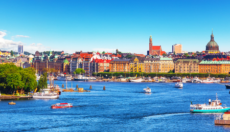 stan: Scenic summer panorama of the Old Town (Gamla Stan) pier architecture in Stockholm, Sweden