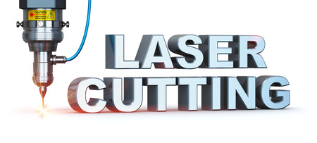 Laser cutting text metal industry concept: macro view of industrial digital CNC - computer numerical control CO2 invisible laser beam cutter machine cutting stainless steel sheet with lot of bright shiny sparkles isolated on white background