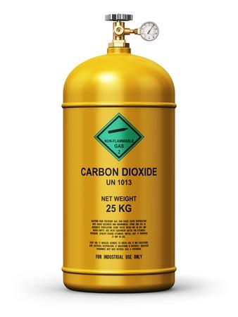 Kreative abstrakten Brennstoff-Industrie-Manufacturing-Geschäft Konzept: 3D Darstellung der gelben Metall Stahl machen verflüssigte Compressed Natural Kohlendioxid Gasbehälter oder Zylinder mit hohem Manometer Messer und Ventil isoliert auf weißem Hintergrund Standard-Bild - 56020290
