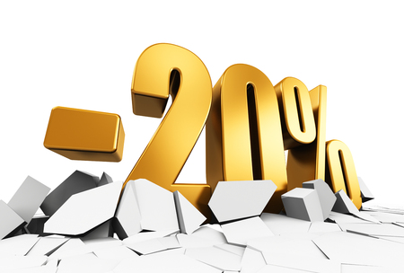 selling off: Creative abstract sale and discount business commercial advertisement concept: 3D render illustration of golden minus 20 percent price cut off text on cracked surface isolated on white background