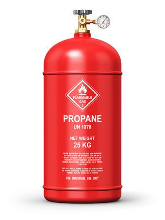 industria de los combustibles concepto de negocio de fabricación abstracto creativo: 3d Ilustración de acero del metal rojo licuado comprimido GNL propano a gas natural o GLP contenedor o cilindro con el medidor manómetro de alta presión y válvula aislada en el fondo blanco