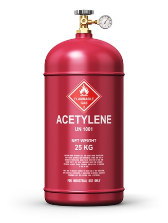 gas cylinder: Creative abstract fuel industry manufacturing business concept: 3D render illustration of red metal steel liquefied compressed natural acetylene gas container or cylinder with high pressure gauge meter and valve for industrial welding of pipes and tubes i