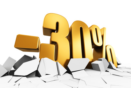 best ad: Creative abstract sale and discount business commercial advertisement concept: 3D render illustration of golden minus 30 percent price cut off text on cracked surface isolated on white background Stock Photo