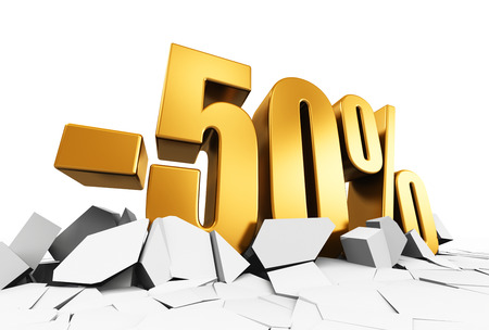 best ad: Creative abstract sale and discount business commercial advertisement concept: 3D render illustration of golden minus 50 percent price cut off text on cracked surface isolated on white background