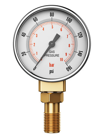 Creative abstract fuel industry manufacturing business concept: 3D render illustration of metal steel high pressure gauge meter or measuring manometer with brass fitting isolated on white background