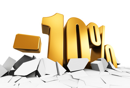 Creative abstract sale and discount business commercial advertisement concept: 3D render illustration of golden minus 10 percent price cut off text on cracked surface isolated on white background Stockfoto