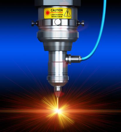 Laser industria dei metalli taglio concetto: 3d rendono l'illustrazione della vista macro di industriali CNC digitale - computer di controllo numerico delle macchine CO2 taglierina raggio laser invisibile taglio lamiera di acciaio inox con molte scintille lucidi brillanti Archivio Fotografico - 56020343