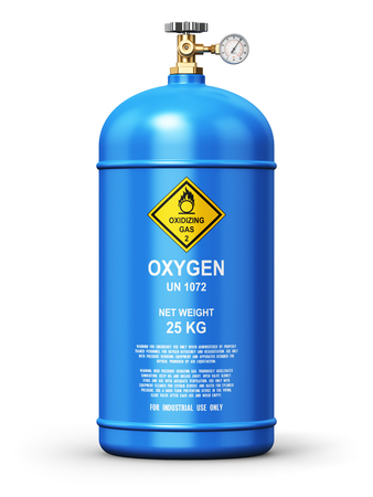 Creative abstract fuel industry manufacturing business concept: 3D render illustration of blue metal steel liquefied compressed natural oxygen gas container or cylinder for welding or medical use with high pressure gauge meter and valve isolated on white