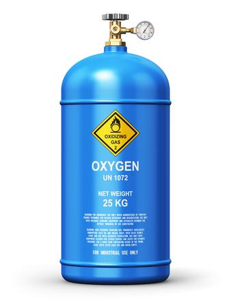 concept abstrait entreprise de fabrication de l'industrie de carburant Creative: 3D render illustration acier bleu métal liquéfié contenant de l'oxygène gazeux naturel comprimé ou d'un cylindre pour le soudage ou usage médical avec compteur de jauge haute pression et la vanne d'isolement sur le blanc