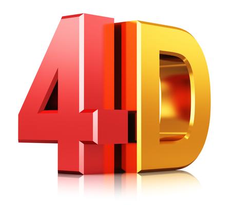 Kreative abstrakten vier dimensionalen digitalen Kinoindustrie Technologie-Konzept: 3D-Darstellung von Farbe glänzend mit Reflexion Wirkung isoliert auf weißem Hintergrund Metallic-4D Film Film Zeichen, Symbol oder Logo machen