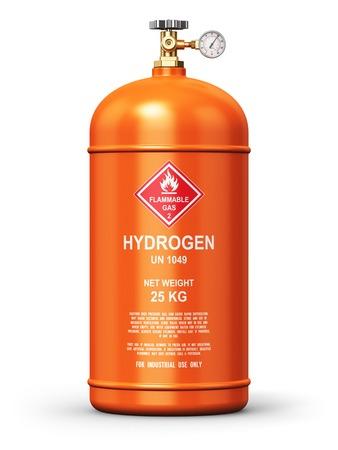hidrógeno: industria de los combustibles concepto de negocio de fabricación abstracto creativo: 3d Ilustración de acero de metal de color naranja licuado contenedor de gas natural comprimido de hidrógeno o un cilindro con un medidor manómetro de alta presión y válvula aislada en el fondo blanco