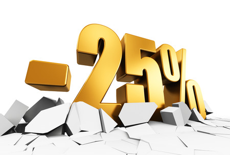 price cut: Creative abstract sale and discount business commercial advertisement concept: 3D render illustration of golden minus 25 percent price cut off text on cracked surface isolated on white background Stock Photo