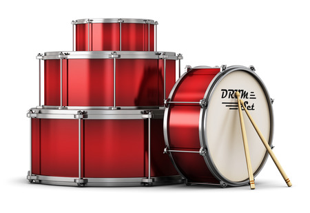 Creative abstract musical instrument concept: 3D render illustration of red drum set with pair of drumsticks isolated on white background