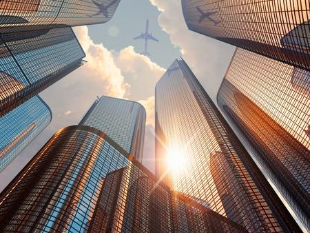 창조적 인 추상 비즈니스 기업 건설 업계 및 부동산 금융 개념 : 3D 렌더링 태양 빛과 여객 연극 시내 중심 지구에서 파란색 현대 높은 높이 유리 반사