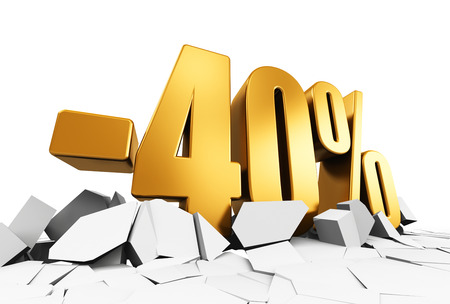 cut price: Creative abstract sale and discount business commercial advertisement concept: 3D render illustration of golden minus 40 percent price cut off text on cracked surface isolated on white background Stock Photo