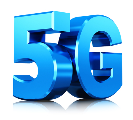 Creative abstract mobile telecommunication cellular high speed data connection business concept: 3D render illustration of blue metallic 5G wireless communication technology logo, symbol, icon or button isolated on white background with reflection effect