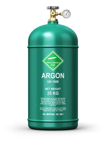 liquefied: Creative abstract fuel industry manufacturing business concept: 3D render illustration of green metal steel liquefied compressed natural argon gas container or cylinder with high pressure gauge meter and valve for aluminum welding isolated on white backgr