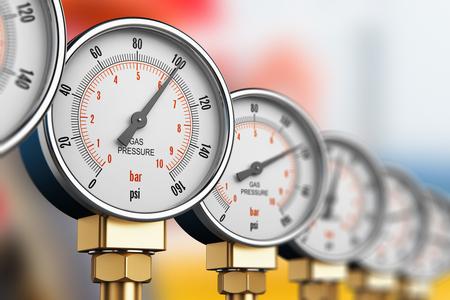 크리 에이 티브 추상 석유 및 가스 연료 제조 산업 비즈니스 개념 : 금속 강철 고압 게이지 미터 LNG 또는 LPG, 천연 가스 분배 스테이션 놀이터에서 튜브 파이프 라인에 황동 피팅과 압력계의 행의 그림 3D 렌더링