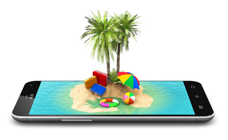ocean and sea: Creative abstract travel, tourism and holidays and vacations online booking concept: 3D render illustration of tropical island resort with blue sea ocean water, sand beach and palm trees on modern black glossy touchscreen smartphone screen or mobile phone