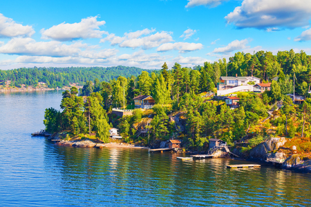 SEA  LANDSCAPE: Scenic summer Scandinavian Swedish countryside landscape - sea, islands, forests and villages with cottages Stock Photo