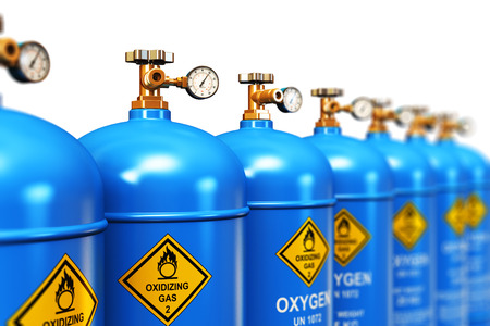 Creative abstract fuel industry manufacturing business concept: 3D render illustration of the group of blue metal steel liquefied compressed natural oxygen gas containers or cylinders for welding or medical use with high pressure gauge meters and valves a