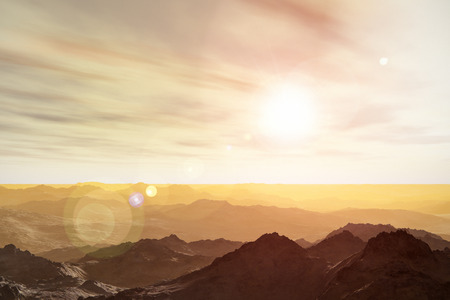 surrealistic: 3D render illustration of abstract surrealistic Martian space landscape of mountainous Mars planet surface Stock Photo