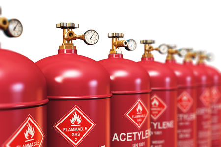 petrol bomb: Creative abstract fuel industry manufacturing business concept: 3D render illustration of the group of red metal steel liquefied compressed natural acetylene gas containers or cylinders with high pressure gauge meters and valves for industrial welding of