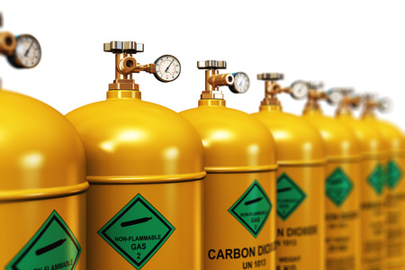 Creative abstract fuel industry manufacturing business concept: 3D render illustration of the group of yellow metal steel liquefied compressed natural carbon dioxide gas containers or cylinders with high pressure gauge meters and valves arranged in row an