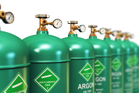 liquefied: Creative abstract fuel industry manufacturing business concept: 3D render illustration of the group of green metal steel liquefied compressed natural argon gas containers or cylinders with high pressure gauge meters and valves for aluminum welding arrange