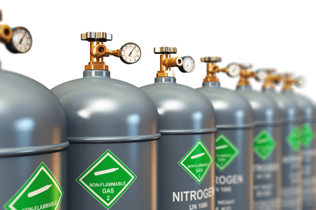 3d nitrogen: Creative abstract fuel industry manufacturing business concept: 3D render illustration of the group of gray metal steel liquefied compressed natural nitrogen gas containers or cylinders with high pressure gauge meters and valves arranged in row and isolat