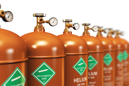 liquefied: Creative abstract fuel industry manufacturing business concept: 3D render illustration of the group of brown metal steel liquefied compressed natural helium gas containers or cylinders with high pressure gauge meters and valves arranged in row and isolate Stock Photo