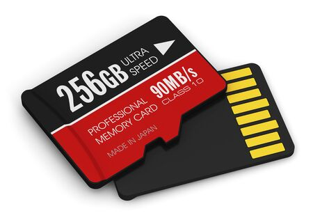 pc icon: Creative abstract mobile technology and data storage industry business concept: 3D render illustration of high speed 256 GB Class 10 professional MicroSD flash memory cards for usage in smartphones, tablet computer PC, mobile phones, photo cameras and oth Stock Photo