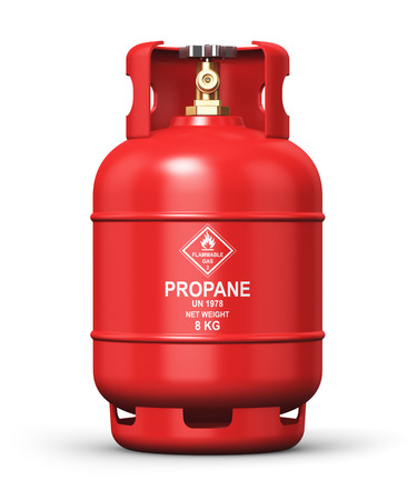 Creative abstract fuel industry manufacturing business concept: 3D render illustration of red metal steel liquefied compressed natural propane gas LNG or LPG container or cylinder with high pressure valve isolated on white background Stock Photo
