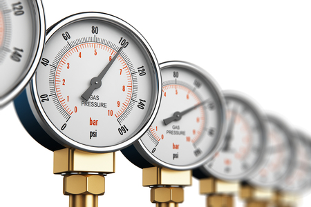 Creative abstract oil and gas fuel manufacturing industry business concept: 3D render illustration of the row of metal steel high pressure gauge meters or manometers with brass fittings on tubing pipeline at LNG or LPG natural gas distribution station plant or factory facility isolated on white background with selective focus effect