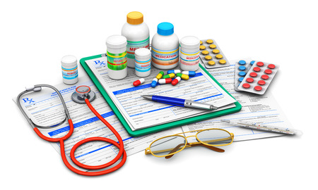 Creative abstract medical doctor insurance and healthcare pharmaceutical concept: 3D render illustration of green clipboard pad with blue prescription medicine drug claim form, ballpoint pen, eyeglasses, stethoscope and group of plastic bottles and contai