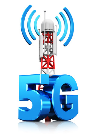 Creative abstract 5G digital cellular telecommunication technology and wireless connection business concept: 3D render illustration of mobile base station or TV transmitter antenna pylon with 5G sign, symbol or logo isolated on white background with refle Banco de Imagens