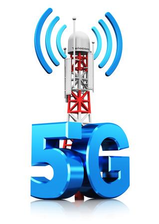 Kreatywne streszczenie 5G technologii cyfrowej telekomunikacji komórkowej i koncepcji połączenia bezprzewodowego połączenia: 3D renderowania ilustracja mobilnej stacji bazowej lub nadajnika antenowego TV z symbolem 5G, symbolem lub logo na białym tle z refle