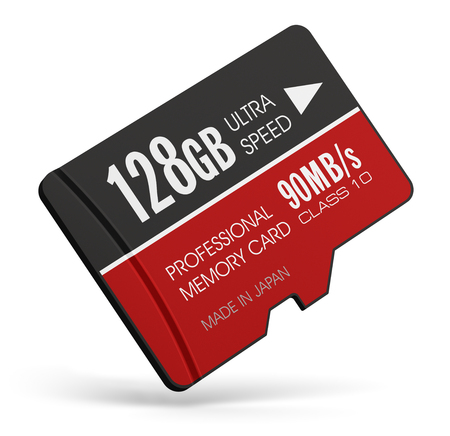 Creative abstract mobile technology and data storage industry business concept: 3D render illustration of high speed 128 GB Class 10 professional MicroSD flash memory card for usage in smartphones, tablet computer PC, mobile phones, photo cameras and othe