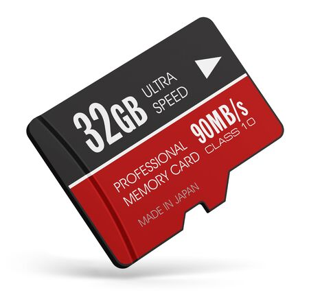gb: Creative abstract mobile technology and data storage industry business concept: 3D render illustration of high speed 32 GB Class10 professional MicroSD flash memory card for usage in smartphones, tablet computer PC, mobile phones, photo cameras and other