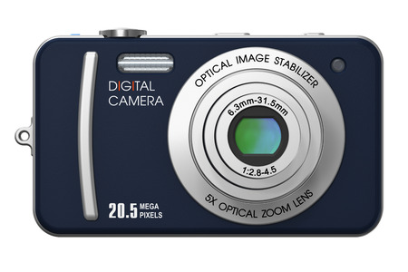 professional equipment: Creative abstract photography imaging and picture technology professional photographic equipment concept: 3D render illustration of compact digital photo camera with zoom lens isolated on white background Stock Photo