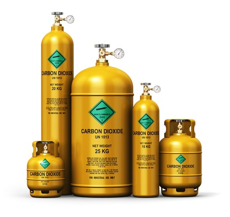 petrol bomb: Creative abstract fuel industry manufacturing business concept: 3D render illustration of the set of yellow metal steel liquefied compressed natural carbon dioxide gas containers or cylinders with high pressure gauge meters and valves isolated on white ba Stock Photo