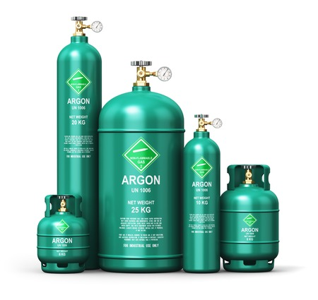 argon: Creative abstract fuel industry manufacturing business concept: 3D render illustration of the set of green metal steel liquefied compressed natural argon gas containers or cylinders with high pressure gauge meters and valves for aluminum welding isolated  Stock Photo