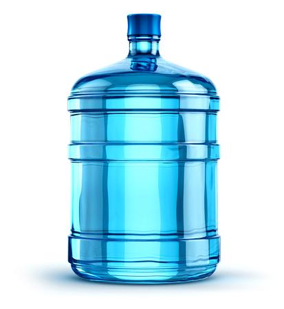 19리터 또는 5갤런 플라스틱 물병 컨테이너 파랑, 흰색 배경에 고립