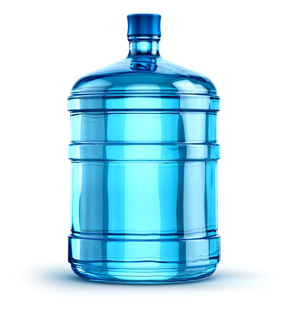 Blue 19 liter or 5 gallon plastic water bottle container isolated on white background Standard-Bild