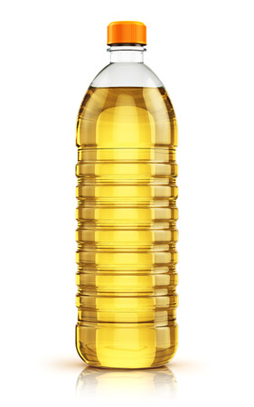 refined: Plastic bottle of yellow refined vegetable cooking oil or organic fat isolated on white background with reflection effect