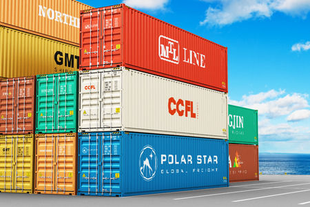 color distribution: Creative abstract cargo freight transportation, shipping, logistics, delivery and distribution commercial business concept: stacked 40 ft color metal heavy containers in sea port terminal Stock Photo
