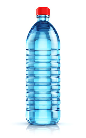 purified: Blue plastic bottle with clear purified drink carbonated water isolated on white background with reflection effect Stock Photo