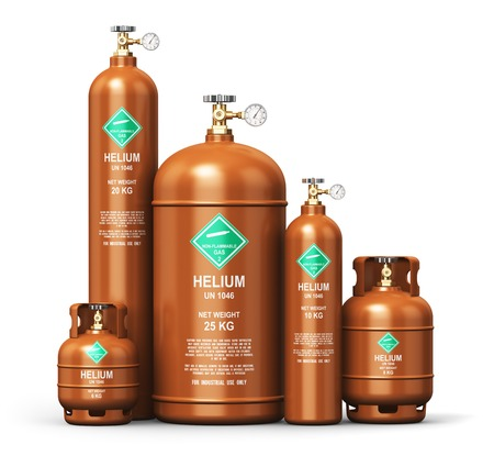Creative abstract fuel industry manufacturing business concept: 3D render illustration of the set of brown metal steel liquefied compressed natural helium gas containers or cylinders with high pressure gauge meters and valves isolated on white background Stock Photo