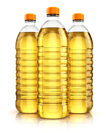 Group of three plastic bottles with yellow refined vegetable cooking oil or organic fat isolated on white background with reflection effect