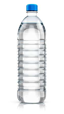 purified water: Plastic bottle with clear purified drink carbonated water isolated on white background with reflection effect
